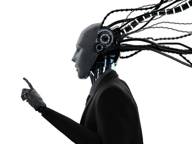 Renderowanie 3d robota biznesmena z kablami nosi garnitur na białym tle