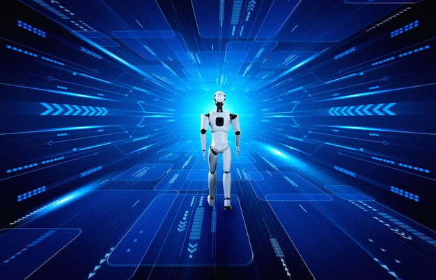 Renderowanie 3d robota humanoidalnego w świecie fantasy science fiction