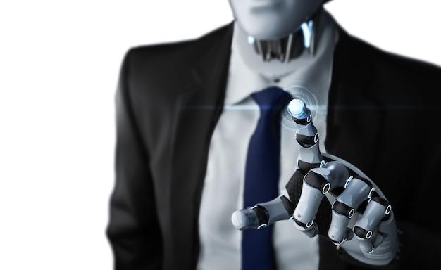 Renderowanie 3d robota punktu dłoni biznesmena na wyświetlaczu graficznym