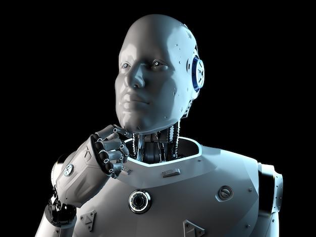 Renderowanie 3d robota sztucznej inteligencji lub analiza cyborga na białym tle na czarnym tle
