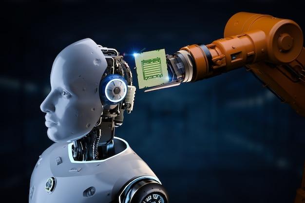 Renderowanie 3d robota sztucznej inteligencji lub cyborga z chipsetem do technologii półprzewodnikowej