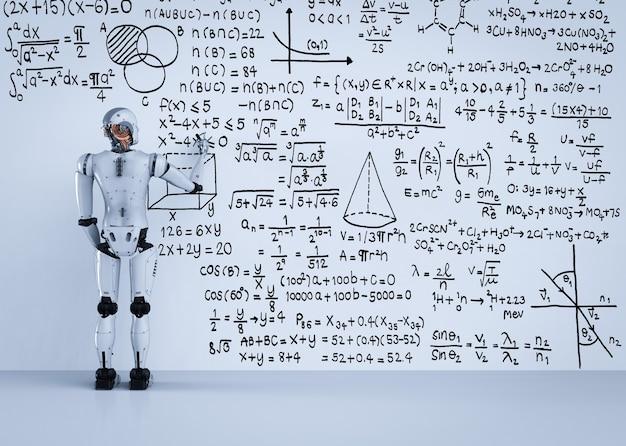 Renderowanie 3d robota uczącego się lub rozwiązującego formułę matematyczną