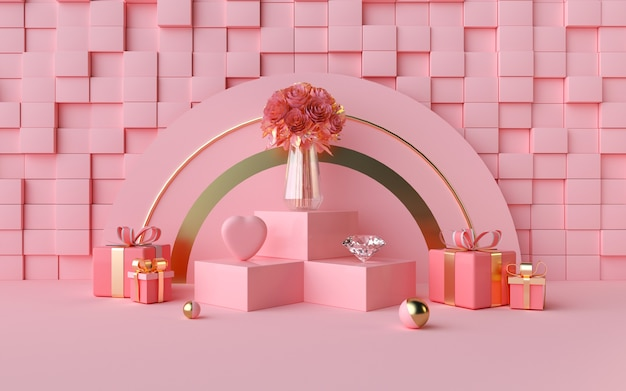 Renderowanie 3d romantycznego różu ze ścianami w kształcie sześcianu