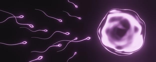 Renderowanie 3d. różowa plemnik i komórka jajowa.