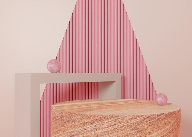 Renderowanie 3d różowy pastelowy wyświetlacz podium produktu stanąć na tle. abstrakcyjna minimalna geometria. obraz premium