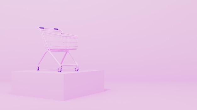 Renderowanie 3d. różowy wózek spożywczy na różowym tle. koncepcja zamówienia