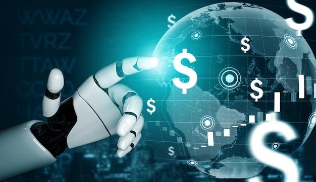 Renderowanie 3d rozwój futurystycznej technologii robotów, sztuczna inteligencja ai