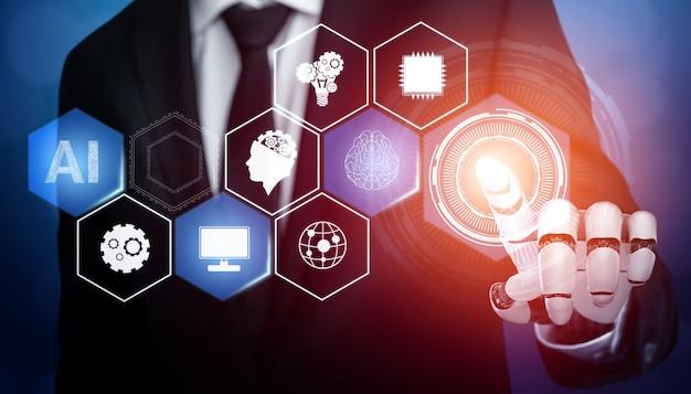 Renderowanie 3d rozwój futurystycznej technologii robotów, sztucznej inteligencji ai i koncepcji uczenia maszynowego. globalne badania w dziedzinie robotyki i bioniki dla przyszłości ludzkiego życia.