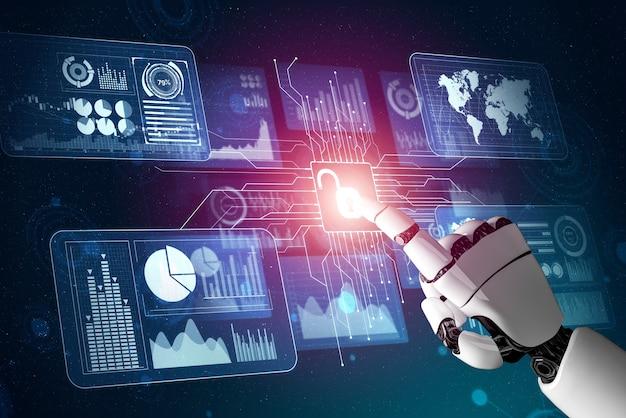 Renderowanie 3d rozwój futurystycznej technologii robotów