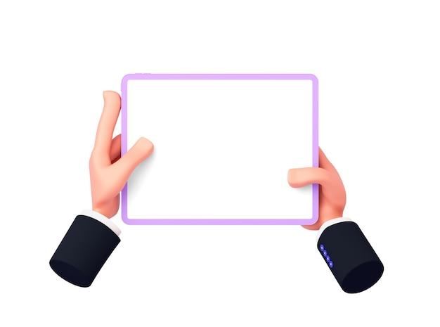 Renderowanie 3d, rysunkowe dłonie z rękawami trzymają tablet w orientacji poziomej