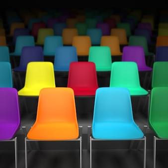 Renderowanie 3d rzędów kolorowych krzeseł