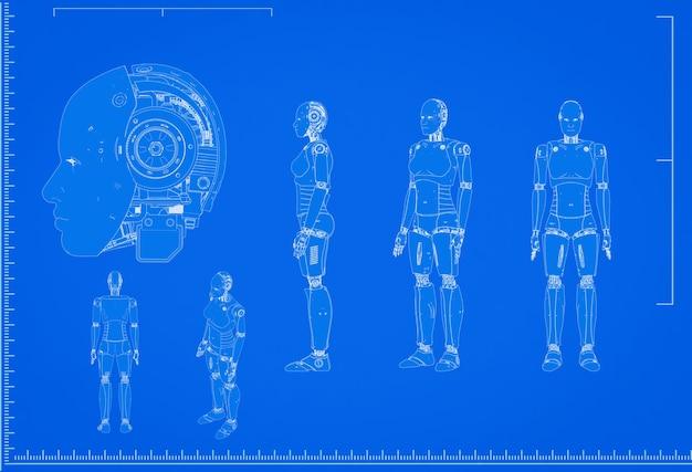 Renderowanie 3d schemat cyborga lub robota ze skalą na niebieskim tle
