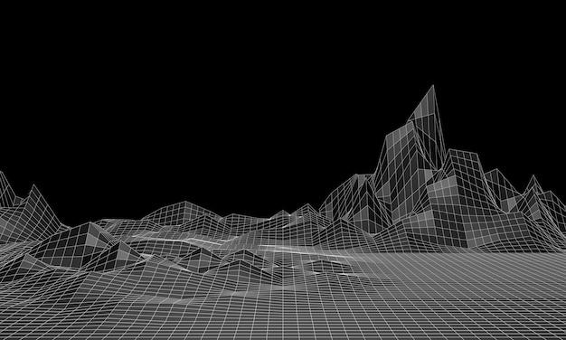 Renderowanie 3d. siatka górska low poly. czarno-biały teren topograficzny.