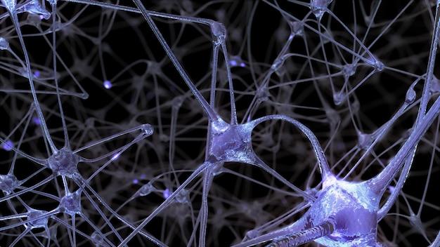 Renderowanie 3d sieci komórek neuronowych i synaps, przez które przechodzą impulsy elektryczne i wyładowania podczas przesyłania informacji w ludzkim mózgu