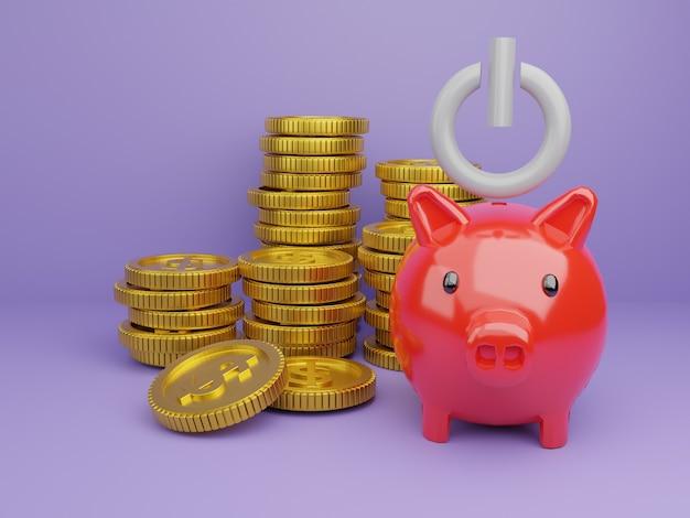 Renderowanie 3d skarbonka z monetą, obraz na czas, aby rozpocząć oszczędzanie lub rozwiązanie pozwalające zaoszczędzić pieniądze