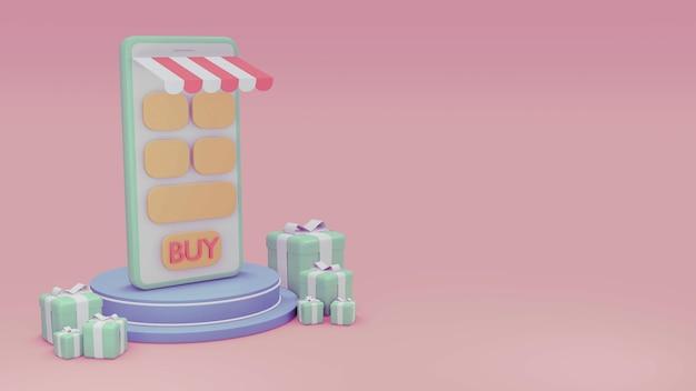 Renderowanie 3d sklepu telefonicznego na podium z pudełkami prezentowymi i pustym miejscem na tekst w pastelowym motywie