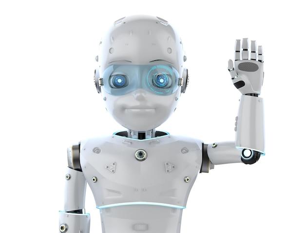 Renderowanie 3d słodkie robota lub sztuczna inteligencja robota z powitaniem postaci z kreskówek