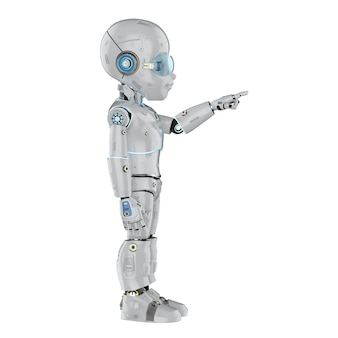 Renderowanie 3d słodkiego robota lub robota ze sztuczną inteligencją z palcem wskazującym postać z kreskówek
