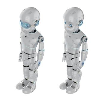 Renderowanie 3d słodkiego robota lub robota ze sztuczną inteligencją z postacią z kreskówek na całej długości