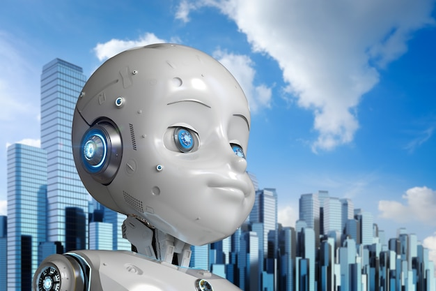 Renderowanie 3d słodkiego robota lub robota ze sztuczną inteligencją z postacią z kreskówek w mieście