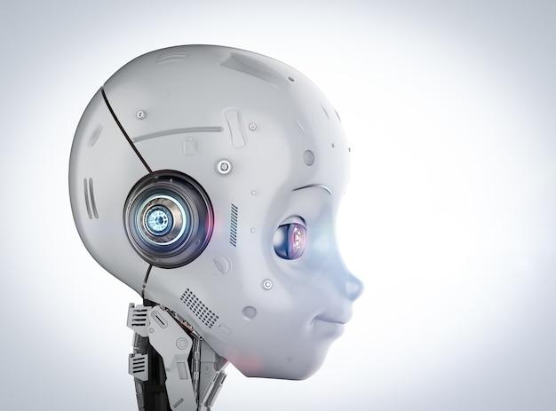 Renderowanie 3d słodkiego robota lub robota ze sztuczną inteligencją z postacią z kreskówek
