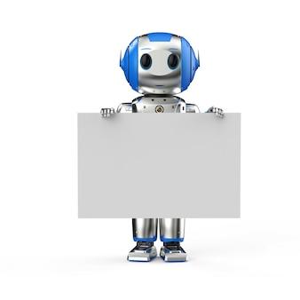 Renderowanie 3d słodkiego robota sztucznej inteligencji z białą pustą przestrzenią