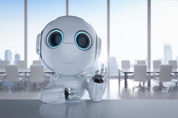 Renderowanie 3d słodkiego robota sztucznej inteligencji z notebookiem komputerowym