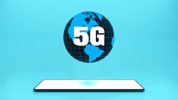 Renderowanie 3d smartfon z szybkim połączeniem internetowym 5g internetu przedmiotów iot