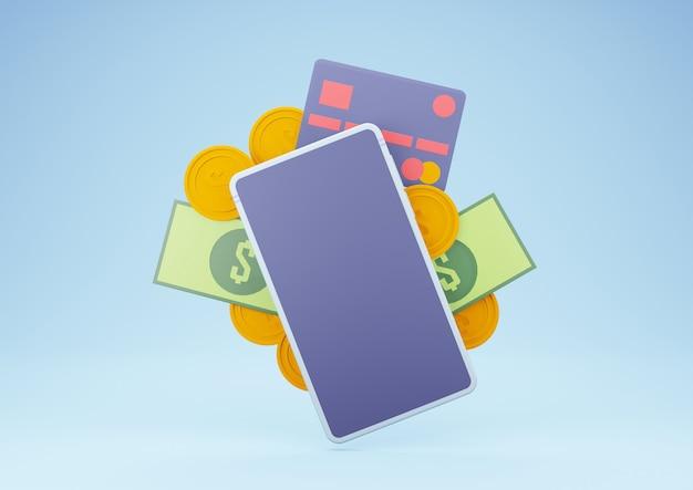Renderowanie 3d smartfona z pieniędzmi i kartą kredytową. bankowość internetowa i koncepcja płatności onine.