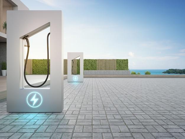 Renderowanie 3d stacji ładującej w pobliżu tarasu w nowoczesnym inteligentnym domu z widokiem na morze