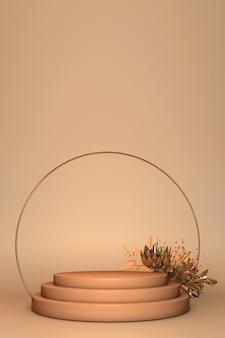 Renderowanie 3d, stojak prezentacyjny, cokół do wyświetlania produktów komercyjnych, podium, łuk okrągły, wiosenne kwiaty na białym tle na beżowym tle. szablon plakatu streszczenie minimalistycznej mody