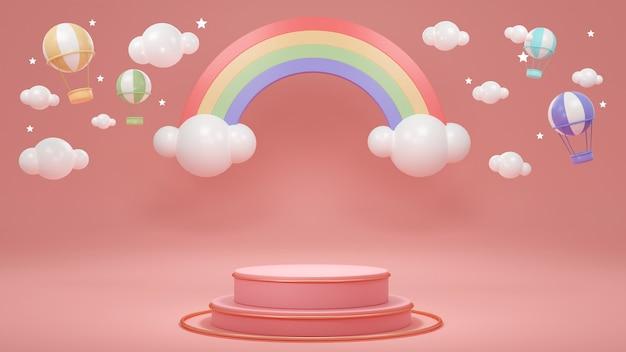 Renderowanie 3d stojaka na podium produktu z tęczowymi chmurami balonami na ogrzane powietrze i gwiazdami