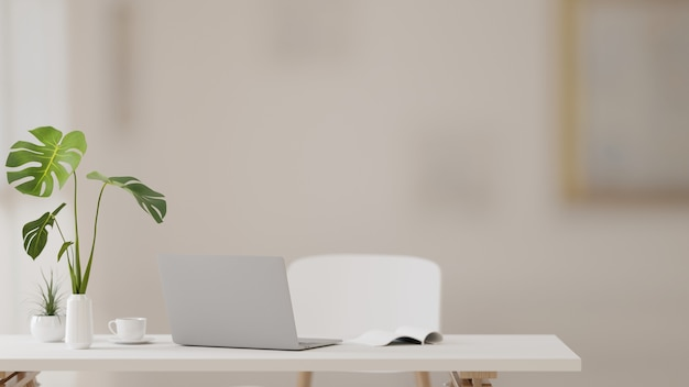 Renderowanie 3d, stół do nauki z laptopem, książki, materiały eksploatacyjne i wazon na rośliny w nowoczesnym salonie, ilustracja 3d