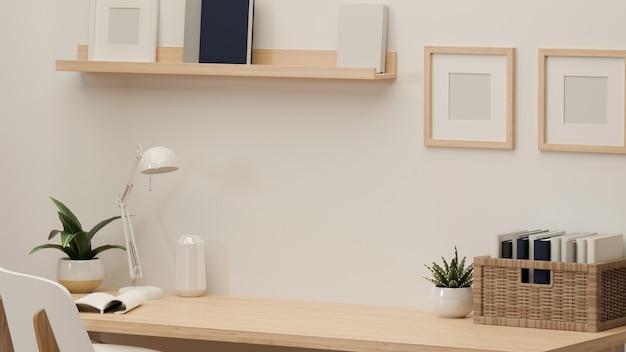 Renderowanie 3d, stół do nauki z miejscem na kopię, lampa, dekoracje, półka na książki na stole w biurze domowym, ilustracja 3d