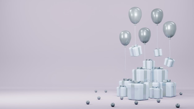 Renderowanie 3d Stos Balonów Z Pudełkami Na Prezenty Unoszące Się Z Miejscem Na Tekst Do Projektowania Komercyjnego Premium Zdjęcia