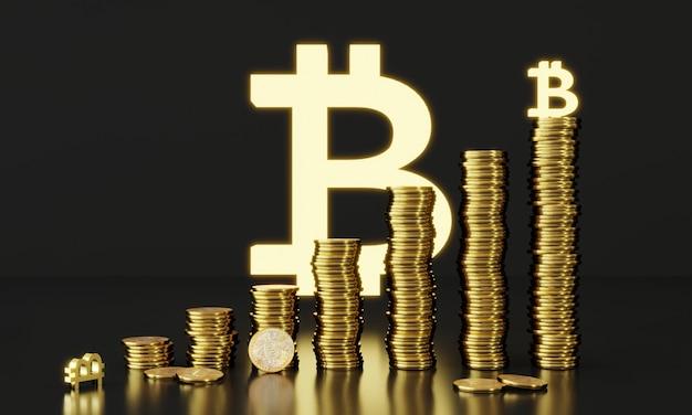 Renderowanie 3d stos monet bitcoin handel monetami cyfrowymi platforma blockchain cyfrowej kryptowaluty