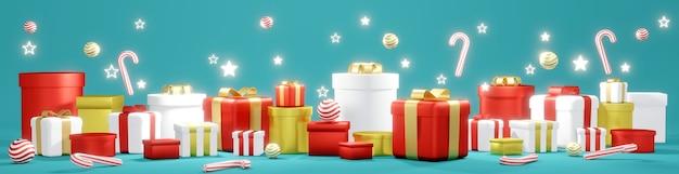 Renderowanie 3d stosu prezentów i błyszczącej gwiazdy na niebieskim tle koncepcji szablonu świątecznego bannen