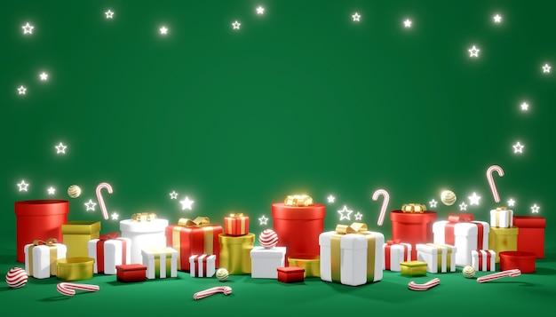 Renderowanie 3d stosu prezentów i błyszczącej gwiazdy na tle koncepcji szablonu transparentu świątecznego
