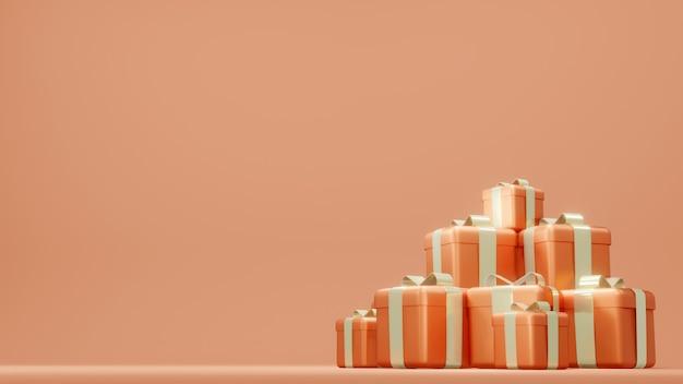 Renderowanie 3d stosu pudełek na prezenty do projektowania komercyjnego w pomarańczowym motywie
