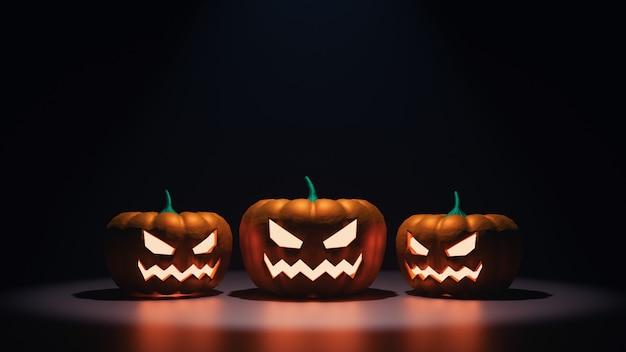 Renderowanie 3d strasznych głów dyni halloween w nocy ze świecącym pomarańczowym światłem i odbiciem
