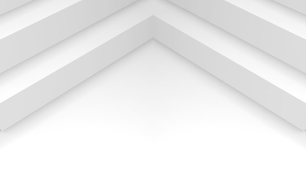 Renderowanie 3d. streszczenie długi narożnik modułu na białym tle przestrzeni kopii.