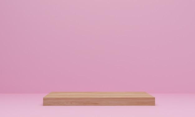 Renderowanie 3d. streszczenie minimalistyczna scena z geometrycznym. drewniane podium na różowym tle. postument lub platforma do ekspozycji, prezentacji produktu, makiety, pokazu produktu kosmetycznego