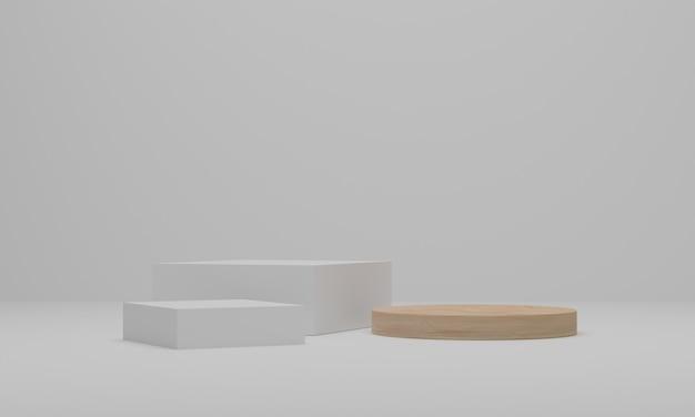 Renderowanie 3d. streszczenie minimalistyczna scena z geometrycznym. postument lub platforma do ekspozycji, prezentacji produktu, makiety, pokazu produktu kosmetycznego