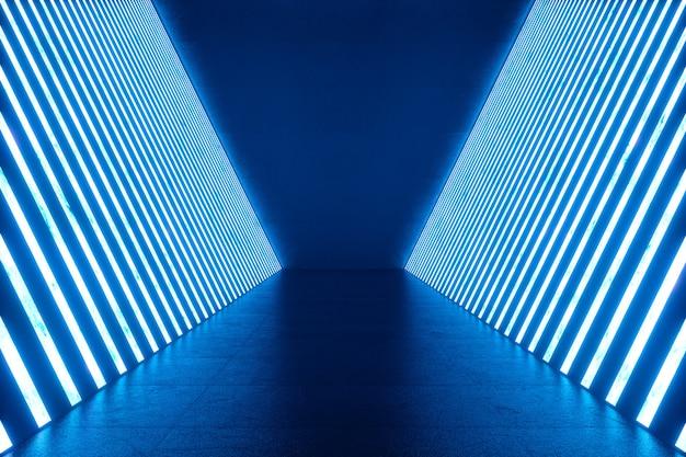 Renderowanie 3d streszczenie niebieskim wnętrzem pokoju z niebieskimi neonowymi lampami. futurystyczna architektura. makieta do projektu.