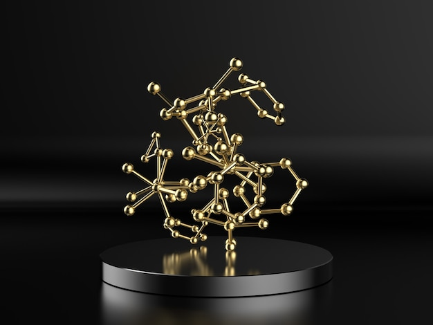 Renderowanie 3d struktury cząsteczki złota na czarnym tle