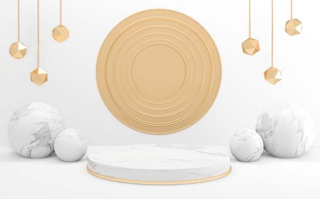 Renderowanie 3d styl biały, podium minimalne geometryczne.