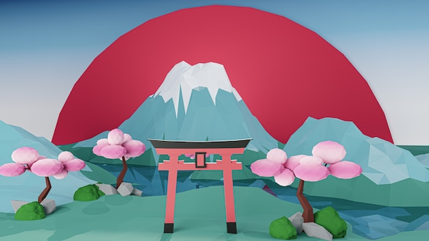 Renderowanie 3d. styl kreskówki low poly island z japończykiem.