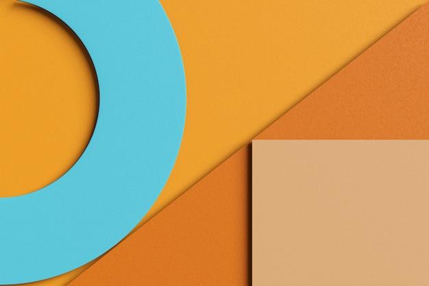 Renderowanie 3d stylowe tło abstrakcyjne biznesowych o prostych geometrycznych kształtach. płaski obraz warstwy papieru tekstury brązowy, żółty, pomarańczowy, kremowy i niebieski kolor