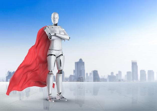 Renderowanie 3d superbohatera cyborga lub bohatera robota z czerwonym płaszczem