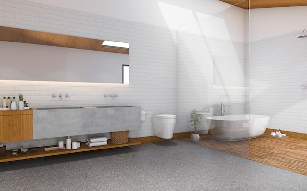 Renderowanie 3d światła dziennego od dachu po nowoczesną i drewnianą łazienkę